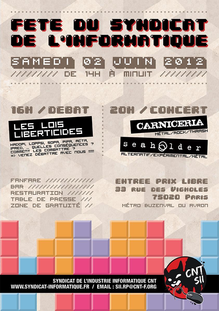Affiche de la fête de l'informatique le 2 juin au vignoles en mode rétro-gaming